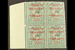 1922 DOLLARD 4d Grey-green With Carmine Overprint, SG 6c, Superb Nhm Left Marginal Block Of Four. For More Images, Pleas - Ireland