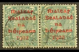 1922 DOLLARD 4d Grey Green With Carmine Overprint, SG 6c, Horizontal Pair, Fine Cds Used.  For More Images, Please Visit - Ireland