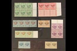 """1922-23 """"C"""" For """"O"""" Varieties On """"SAORSTAT"""" On ½d Within Positional Block Of Six, 1d Positional Strip Of Three, 4d Strip - Ireland"""