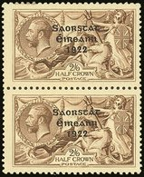 1922-23 2s6d Pale Brown Seahorse, Vertical Pair, One With NO ACCENT Variety, SG 64b + 64, Very Fine Mint, Normal Stamp N - Ireland
