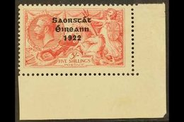 1922-23 5s Rose-carmine, Overprint With WEAK ACCENT, Hibernian T60f (SG 65 Variety), Never Hinged Mint  From The Lower-  - Ireland
