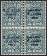 1922-23 BROKEN FRAME LINE 10d Turquoise Blue SG 62, Fine Mint Block Of Four With Lower Left Stamp Showing Broken Frame L - Ireland