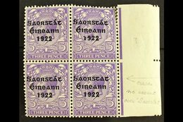 1922-23 SAORSTAT 3d Bluish Violet, Right Marginal Block Of Four, Showing NO ACCENT, SG 57a, Fresh Mint, Light Crease. Fo - Ireland