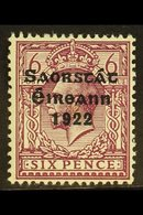 1922-23 SAORSTAT 6d Reddish Purple, Watermark Inverted And Reversed, SG 60y, Fresh Mint.  For More Images, Please Visit  - Ireland