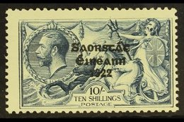 """1925 10s Dull Grey-blue """"Seahorse"""" Of Great Britain With Three Line Overprint (narrow Setting), SG 83, Never Hinged Mint - Ireland"""