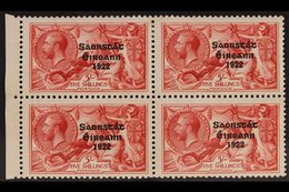 1925 5s Rose-carmine, SG 84, Very Fine Mint Marginal BLOCK OF FOUR, The Lower Pair Never Hinged. Lovely! For More Images - Ireland
