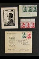 1953 ROBERT EMMET DISPLAY GROUP. The Issued Set (SG 156/57) In Never Hinged Mint Marginal Strips Of Three; The Set On An - Ireland