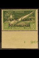 """1924 10c Olympic Ganes, Variety """"Thin G"""", Yv 18var, Vf NHM. For More Images, Please Visit Http://www.sandafayre.com/item - Lebanon"""