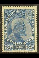 1915 25h Johann II Dark Cobalt On Normal Paper, Mi 3ya, Very Fine Lightly Hinged Mint. Cat €600 (£450) For More Images,  - Liechtenstein