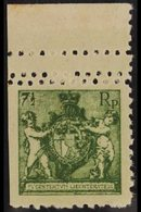 1921 7½rp Arms Perf 9½-10 COLOUR PROOF Printed In Green On Unwatermarked Paper (as Michel 49 A), Upper Marginal Example  - Liechtenstein