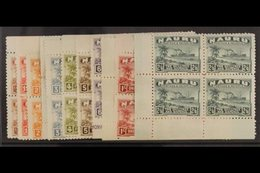 1924 - 34 Freighter Set To 2s 6d Complete, On Unsurfaced Paper, SG 26A/37A, In Never Hinged Mint Marginal Blocks Of 4. ( - Nauru