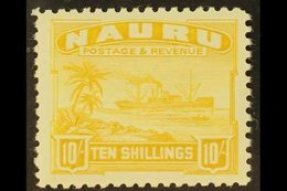 """1924-48 10s Yellow """"Century"""" (Freighter) PERF 11, SG 39A, Very Fine Mint For More Images, Please Visit Http://www.sandaf - Nauru"""
