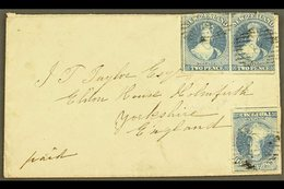 1858 (7 Jun) Env From Nelson To Huddersfield, England Bearing PAIR + Single Of The 1857-63 2d Blue Imperfs (SG 10, Singl - New Zealand