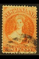 1862 1d Orange Vermilion, Wmk Large Star, Perf 13, SG 68, Fine Used, Neat Cancel. For More Images, Please Visit Http://w - New Zealand