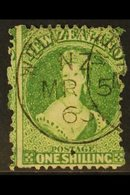 1864 1s Deep Green, Perf 12½, Wmk Large Star, SG 123, Very Fine Used With Neat Upright Wellington Cds Cancel. For More I - New Zealand