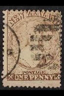 """1873 1d Brown Perf 12½, Apparently With """"NZ"""" Watermark (SG 140, Cat £9,000), Used. Probable Forgery - Offered """"as Is"""". F - New Zealand"""