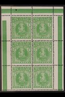 1909-12 ½d Green Booklet Pane Of Six With Coloured Bars On Selvedge, SG 387e, Very Fine Never Hinged Mint. For More Imag - New Zealand
