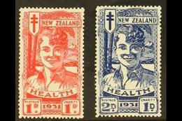 "1931 1d+1d Scarlet And 2d+2d Blue ""Smiling Boy"" Health Set, SG 546/547, Very Fine Mint. (2 Stamps) For More Images, Ple - New Zealand"