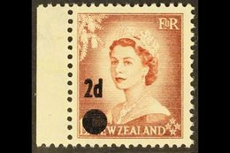 1958 2d On 1½d Brown-purple SURCHARGE ERROR, SG 763b, Never Hinged Mint Marginal Example. For More Images, Please Visit  - New Zealand