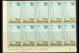 1967-70 $2 Geyser, SG 879, Lower Left Corner Imprint/plate Number Block Of Ten (5 X 2), Never Hinged Mint. For More Imag - New Zealand