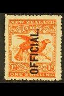 OFFICIAL 1907-11 1s Orange-red, SG O65, Mint. For More Images, Please Visit Http://www.sandafayre.com/itemdetails.aspx?s - New Zealand