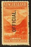 OFFICIAL 1907 5s Deep Red Mt. Cook, Ovptd Official, SG O67, Superb Mint. For More Images, Please Visit Http://www.sandaf - New Zealand