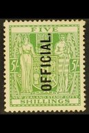 OFFICIAL 1927-33 5s Green, SG O113, Unused, No Gum, Cat.£325. For More Images, Please Visit Http://www.sandafayre.com/it - New Zealand