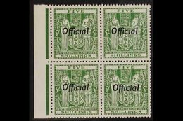 """OFFICIAL 1943 """"Arms"""" 5s Green, Perf 14 Wmk Upright, SG 133, Marginal BLOCK OF FOUR Never Hinged Mint. For More Images, P - New Zealand"""