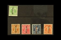 OFFICIALS 1910-16 KEVII ½d Yellow-green & 1910-16 Set Of 4, SG O73, O74/7, Very Fine Mint (5 Stamps). For More Images, P - New Zealand