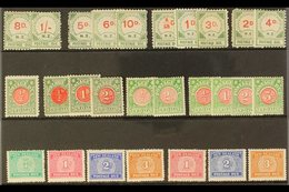 """POSTAGE DUES 1899-1949 MINT COLLECTION Presented On A Stock Card That Includes 1899-1900 8d & 1s, 5d, 6d & 10d """"Small D"""" - New Zealand"""
