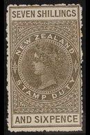 POSTAL FISCALS 1906 7s 6d Bronze Grey, Wmk NZ Sideways, On Unsurfaced Cowan Paper , SG F84, Mint. For More Images, Pleas - New Zealand
