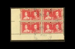 """USED IN PITCAIRN ISLAND 1937 1d Carmine Coronation (SG 599), Fine Used Lower Left Corner BLOCK Of 4 Cancelled By """"PITCAI - New Zealand"""