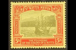 1923 5s Black & Red/pale Yellow, SG 59, Very Fine Mint For More Images, Please Visit Http://www.sandafayre.com/itemdetai - St.Kitts And Nevis ( 1983-...)