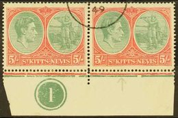 1938-50 5s Bluish Green And Scarlet, Ordinary Paper, Lower Marginal Plate Number Pair, One Showing Break In Oval At Foot - St.Kitts And Nevis ( 1983-...)