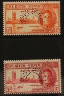 """1946 Victory Set, Perf. """"SPECIMEN"""", SG 78/79s, Fine Never Hinged Mint. (2) For More Images, Please Visit Http://www.sand - St.Kitts And Nevis ( 1983-...)"""
