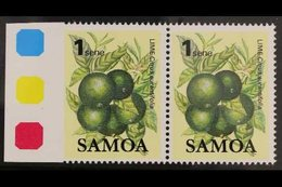 1983 1s Fruit Definitive, SG 647, Marginal Horizontal Pair, IMPERF Between Stamp And Margin, Never Hinged Mint. For More - Samoa