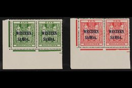 """POSTAL FISCAL 1945 """"Arms"""" 5s Green And 10s Carmine-lake, SG 208/09, Never Hinged Mint Corner Pairs. (2 Pairs = 4 Stamps) - Samoa"""