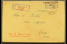 1917 POSTES SERBES. Registered Censored Cover To Switzerland, Bearing France 50c Stamp Tied By Serbian Cyrillic Cds And  - Serbia