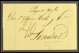 """1846 (1 May) EL Endorsed """"2/2"""" Manuscript Rate Containing Rather Splendid Multi- Signed Printed Bank Letter, Sent To Lon - Spain"""