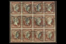 1855 2r Dull Purple On Bluish Watermarked Paper, SG 49 (Edifil 42), Used BLOCK OF TWELVE With 4 Margins And Neat Blue Ov - Spain