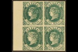 1862 2r Deep Green Imperf, SG 74b (Edifil 62) Mint BLOCK OF FOUR With Full Margins From The Left Side Of The Sheet. A Fa - Spain