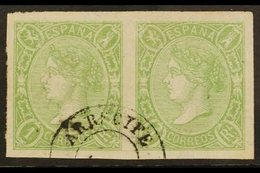 """1865 2r Yellow- Green Imperf, SG 84 (Edifil 72) PAIR USED AT THE CANARY IS. With A Single Choice """"Arrecife"""" Cds. A Beaut - Spain"""