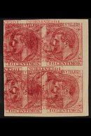 1879 King Alfonso XII 10c Rose (as Mi 178, Edifil 202, SG 265) - An Imperf Block Of Four On Ungummed Paper, Printed Doub - Spain