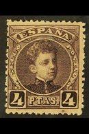 1901 4 Peseta Plum, SG 305, Mi 216, Fine Mint For More Images, Please Visit Http://www.sandafayre.com/itemdetails.aspx?s - Spain