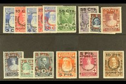 1927 25th Anniversary Of Coronation Surcharges Complete Set (SG 430/444, Edifil 373/87, Michel 336/50), Very Fine Mint.  - Spain