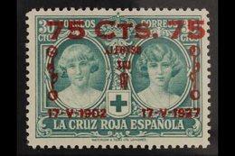 1927 25th Anniversary Of Coronation 75c On 30c Green (Edifil 381, Mi 344, Sc B40, SG 438), Very Fine Never Hinged Mint.  - Spain