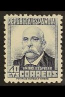 "1931 40c Ultramarine Perf 11½ MUESTRA ""A000,000"" On Reverse, Edifil 660N, Never Hinged Mint. For More Images, Please Vis - Spain"