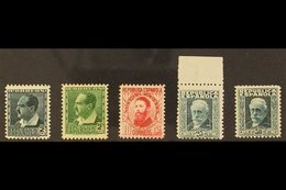 1932 Portrait Stamps In UNISSUED COLOURS. The 2c Verde Amarillento, 2c Verde Oscuro, 10c Rose, 25c Verde Azulado & 30c V - Spain