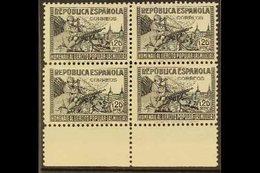 "1938 1p20 Black ""In Honour Of The Militia"", SG 861g (Edifil 797), Never Hinged Mint BLOCK OF FOUR With Sheet Margin At B - Spain"