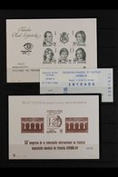 1984 International Philatelic Exhibition/Congress OFFICIAL PROOF SHEETLETS (Edifil PO. 6/7), Plus An Entry Ticket To The - Spain